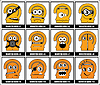 Vector clipart: Set of Twelve yellow monsters