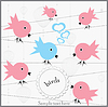 Vector clipart: birds sitting on branch