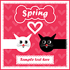 Vector clipart: Vector card with motley cats in love