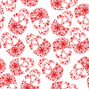 Vector clipart: Red skulls in flowers on white background