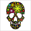 Vector clipart: skull in flowers