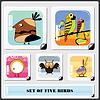 Set of five birds stickers