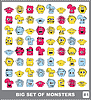 Vector clipart: Big set of colorful monsters