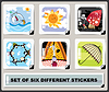Vector clipart: Set of six different stickers