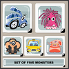 Vector clipart: Set of five colorful monsters