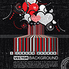 Vector clipart: Grunge barcode with hearts