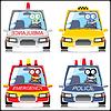 Vector clipart: Set of monsters in the special cars