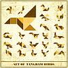 Векторный клипарт: Набор гранж Tangram птицные элементы для назн