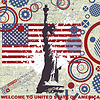 Vector clipart: Grunge postcard with America flag and Statue of Liberty