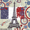 Vector clipart: French grunge postcard with Eiffel tower