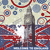 Vector clipart: Grunge postcard with England flag and Big Ben