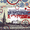 Vector clipart: Grunge postcard with Russia flag and Kremlin