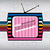 Vector clipart: textured retro tv on grunge background