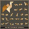 Векторный клипарт: Набор гранж Tangram животные дикие