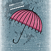 Vector clipart: Pink umbrella on blue grunge background