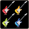 Vector clipart: Four electric guitars