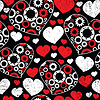 Seamless pattern with red and white hearts