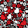 Vector clipart: Red skulls in flowers and hearts - seamless pattern