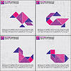 Vector clipart: Set of four tangram birds