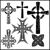 set of six black crosses