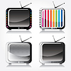 Vector clipart: Set of four colorful stylish retro TV icons