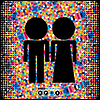 Vector clipart: couple of men and women on colorful background
