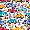 Vector clipart: Fantastic cars - seamless pattern