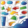 Vector clipart: Set of colorful speech and thought bubbles
