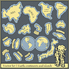 Vector clipart: Vector Set - earth, continents and islands