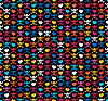 Vector clipart: skulls and hearts  - seamless pattern