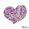 Vector clipart: Colorful heart on grunge background