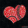 Vector clipart: Red heart on black grunge background