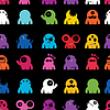 Vector clipart: monsters - seamless pattern