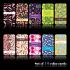 Vector clipart: Set of ten colorful floral cards