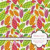 Карточка с красочными тропическими карты листья с красочными т