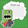 Cartoon monster with message cloud