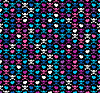 Vector clipart: Colorful skulls and hearts - seamless pattern