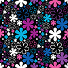Vector clipart: Colorful flowers on black background