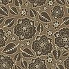 Vector clipart: Brown leaves and flowers - seamless pattern