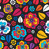 Vector clipart: Colorful leaves and flowers - seamless pattern