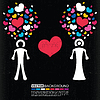 Vector clipart: Valentine`s day card with men and women