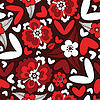 Hearts and flowers - seamless pattern
