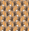 Flowers, hands and legs - seamless pattern