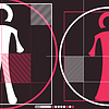 Woman and man in circles