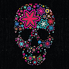 Colorful skull on black grunge background