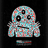 Vector clipart: Colorful monster on black grunge background