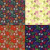 Set of four floral seamless pattern
