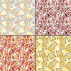 Vector clipart: Set of four decorative elements - seamless pattern