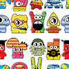 Vector clipart: Monsters seamless background
