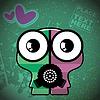 Vector clipart: Monster on retro background